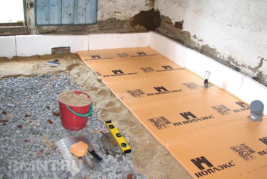 как утеплить бетонный пол пеноплексом
